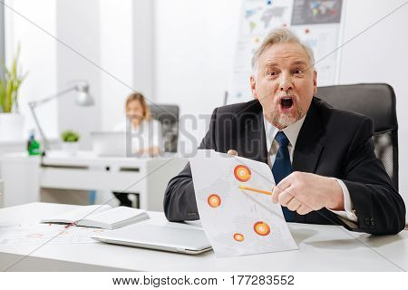 Fierce inside me . Bearded furious angry employer sitting in the office and holding documents while expressing anger and yelling