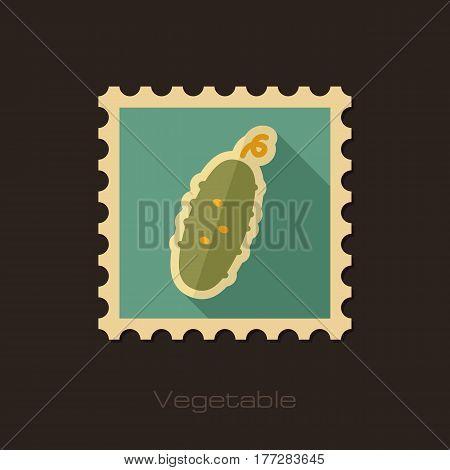 Cucumber flat stamp. Vegetable vector illustration eps 10
