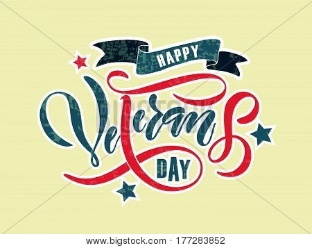 Hand Sketched Text 'happy Veterans Day' On Textured Background. Happy Veterans Day Vector Lettering