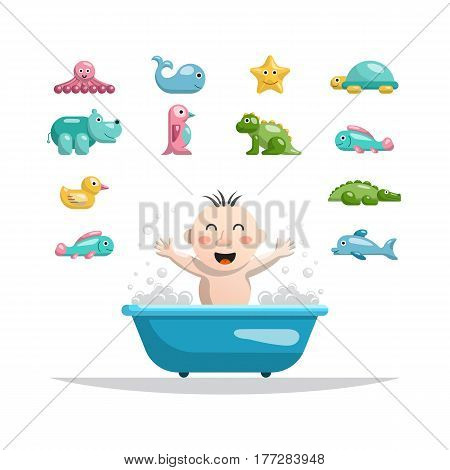 The set of toys on a white background isolated flat in which the child can play while bathing