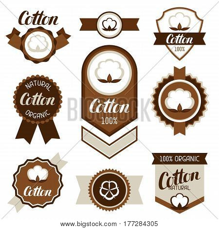 Cotton badges banners and emblems. Clothing labels.