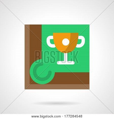 Pool or billiards championship symbol - golden cup on table corner. Cue sport concept. Simple style flat color vector icon.