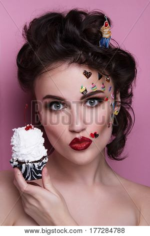 Beautiful Fashion Girl With Luxury Professional Makeup And Funny Emoji Stickers Glued On The Face. Y