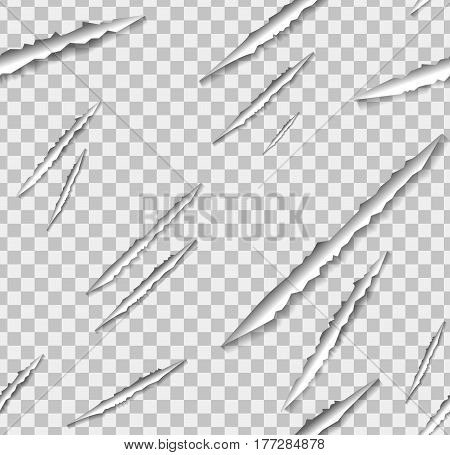 Vector claw scratch seamless pattern on the transparent background.