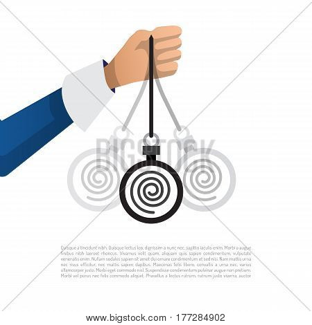 Vector illustration of hand with the swinging of the pendulum introducing man into hypnosis, drawn in a flat cartoon style. The concept of immersion in hypnosis