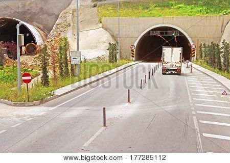 Tunnels wirh truck in Antalya, Turkey Asia