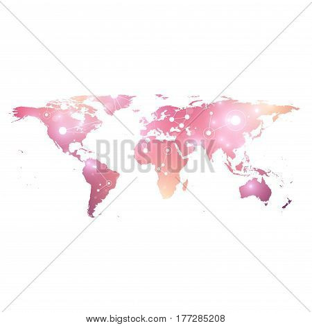 World Map. Geometric graphic background communication. Big data complex with compounds. Perspective graphic backdrop. Digital data visualization. Minimalistic chaotic design, vector illustration