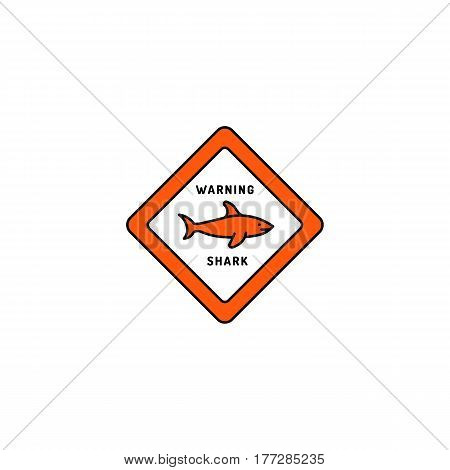 Caution sign of a shark drawn in a flat cartoon style. Sign warning about the danger of shark attacks at the beach