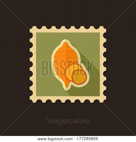 Sweet potato flat stamp. Batata. Vegetable vector illustration