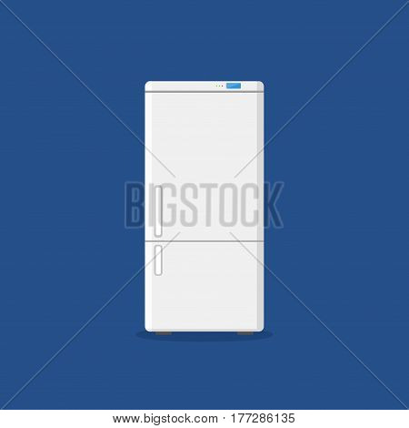 Household appliances fridge isolated on blue background. Electronic device refrigerator. Home appliance freezer vector illustration.