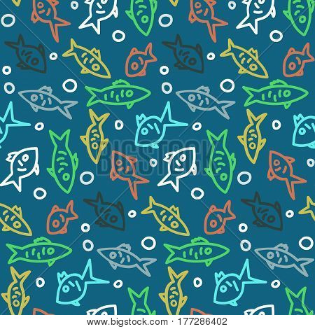 Seamless pattern with colored outline fishes on blue sea background