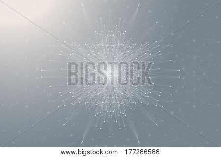Fractal element with connected lines and dots. Big data complex. Particle compounds. Network connection, lines plexus. Minimalistic chaotic design, vector illustration
