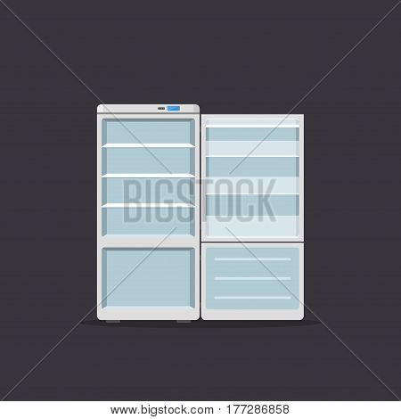 Household appliances fridge open isolated on dark background. Electronic device refrigerator. Home appliance freezer vector illustration.