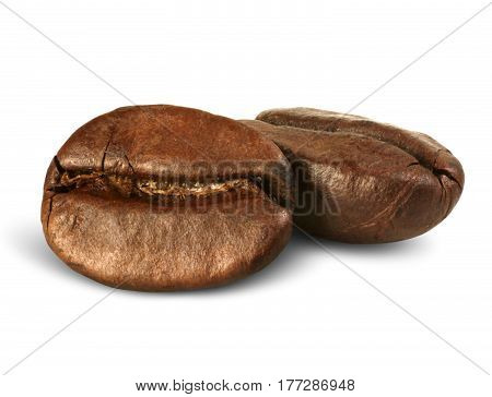 closeup two coffee beans isolated on white path