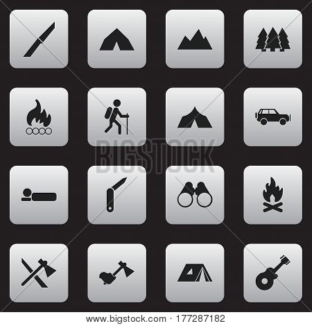 Set Of 16 Editable Travel Icons. Includes Symbols Such As Bedroll, Knife, Field Glasses And More. Can Be Used For Web, Mobile, UI And Infographic Design.