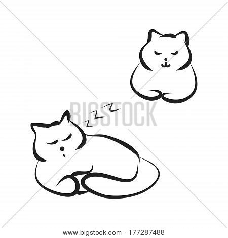 The cat is sleeping. A caricature of a cat, drawing of lines, vector