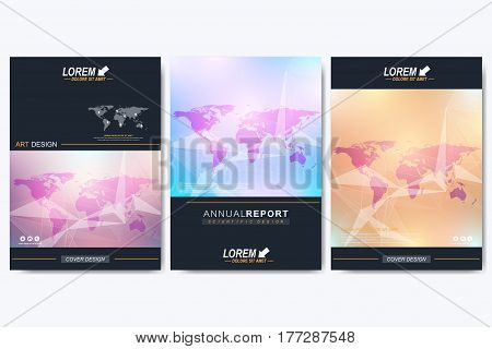 Modern vector template for brochure, Leaflet, flyer, advert, cover, catalog, magazine or annual report. Geometric background communication with Political World Map. Lines plexus. Card surface