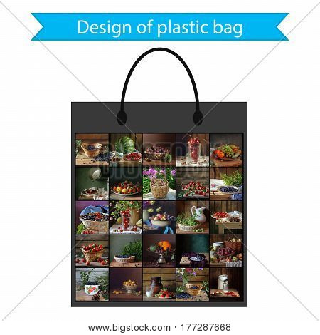 Design of a plastic bag for gifts or purchases.