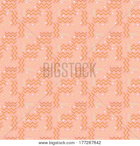 A funky seamless Memphis style design in salmon pink  tones.