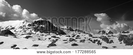 Black And White Panorama Of Snowy Winter Mountains