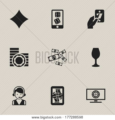 Set Of 9 Editable Gambling Icons. Includes Symbols Such As Greenback, Wine, Gambling And More. Can Be Used For Web, Mobile, UI And Infographic Design.