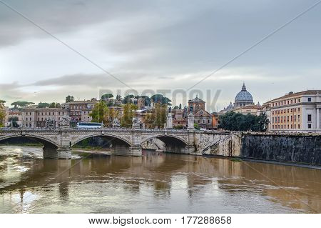 Ponte Vittorio Emanuele II is a bridge in Rome constructed to designs of 1886 by the architect Ennio De Rossi Italy