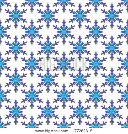 Seamless pattern with snowflakes on white background. Vector Illustration