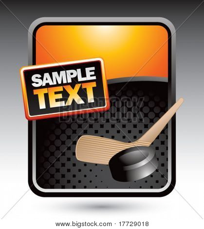 hockey stick and puck orange display