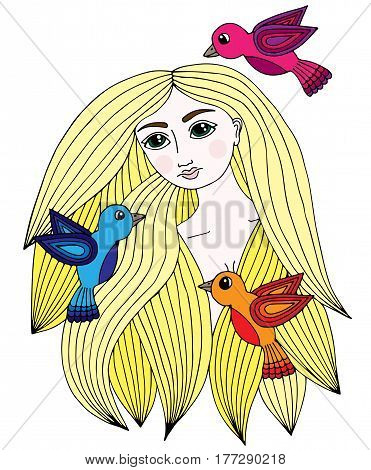 Colorful portrait of a beautiful girl with three little bird. Vector Illustration. Trendy print. Girl portrait for coloring book card invitation posters placards banners.