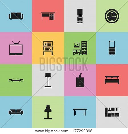 Set Of 16 Editable Interior Icons. Includes Symbols Such As Cabinet, Sofa, Mattress And More. Can Be Used For Web, Mobile, UI And Infographic Design.