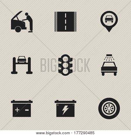 Set Of 9 Editable Traffic Icons. Includes Symbols Such As Battery, Stoplight, Highway And More. Can Be Used For Web, Mobile, UI And Infographic Design.