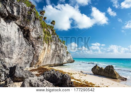 Beach By Tulum Ruins In Mexico