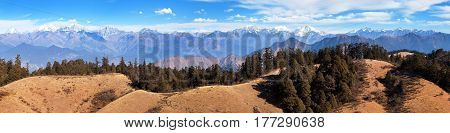 Panoramic view from Khaptad national park mount Saipal great himalayan trail Rara to Khaptad trek in western Nepal