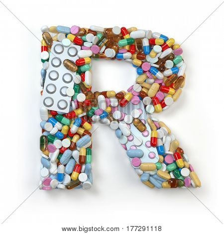 Letter R. Set of alphabet of medicine pills, capsules, tablets and blisters isolated on white. 3d illustratio
