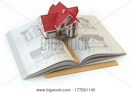 House project. Book with drafts of house and 3d model of house. Construction,  architecture and design concept. 3d illustration