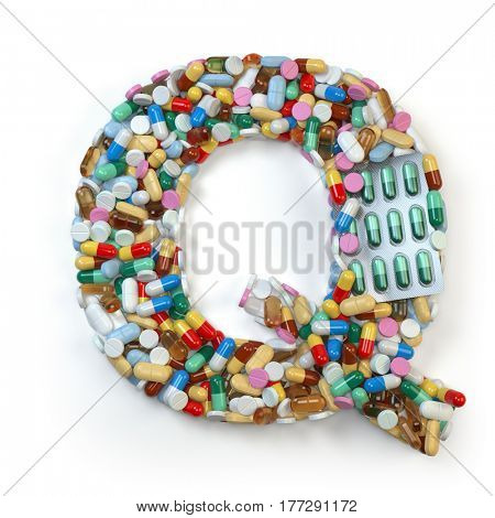 Letter Q. Set of alphabet of medicine pills, capsules, tablets and blisters isolated on white. 3d illustratio