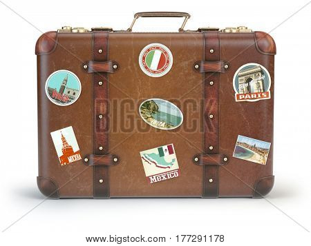 Vintage suitcase with travel stickers isolated on white background. 3d illustration