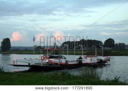 Netherlands Cuijk july 2016: Fery over the river Maas from Cuijck to Middelaar