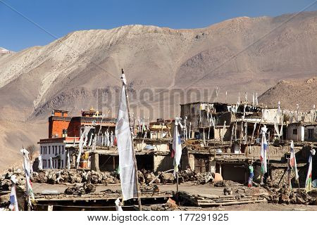 Jharkot village one of the best villages in round Annapurna circuit trekking trail route Nepal
