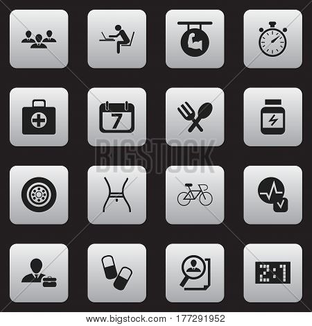 Set Of 16 Editable Mixed Icons. Includes Symbols Such As Biceps, Search, Chronometer And More. Can Be Used For Web, Mobile, UI And Infographic Design.