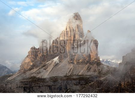 Morning view of Drei Zinnen or Tre Cime di Lavaredo with beautiful cloudy sky Sextener Dolomiten or Dolomiti di Sesto South Tirol Dolomites mountains view Italian Alps