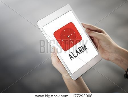 Time red analog alarm clock icon