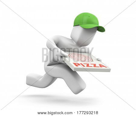 Pizza dealer with pizza boxes runs to hurry to deliver a pizza. 3d illustration