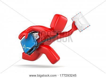 3d postman running delivering letter. 3d illustration