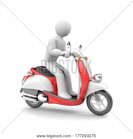 Scooter and scooter driver. Unisex character. 3d illustration