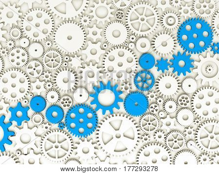 Gears and cogs. Some of gears colored in blue. 3d illustration