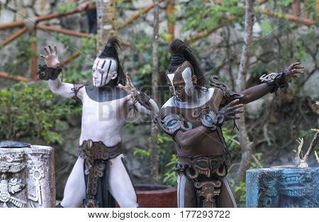 Tulum Mexico March 12th 2017: Men in Maya indian costumes in the temple ruins