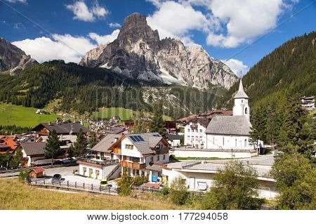 Corvara in Badia church in Corvara Dolomites Italy