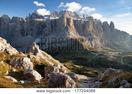 Evening view of Sella gruppe or gruppo di Sella and passo Gardena or Grodner Joch South Tirol Dolomites mountains Italy