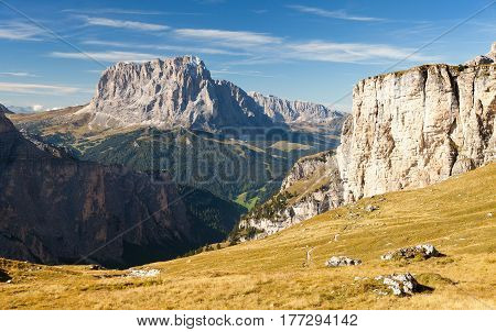 View of Langkofel or Sassolungo Dolomites mountains Italy